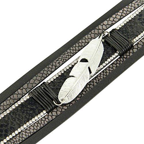 Daphnee und Compagnie Damen Armband Leder grau Trend Brauthaarschmuck DAPHNEE 1216