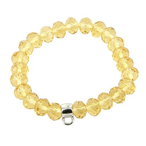Daphnee und Compagnie Damen Armband Leder Perlen Charmtraeger Orangen Charm Carrier DAPHNEE 667