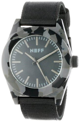 Neff Kombi Unisex Quarzuhr mit schwarzem Zifferblatt Analog Anzeige und schwarzem Nylon Gurt NF0213CM