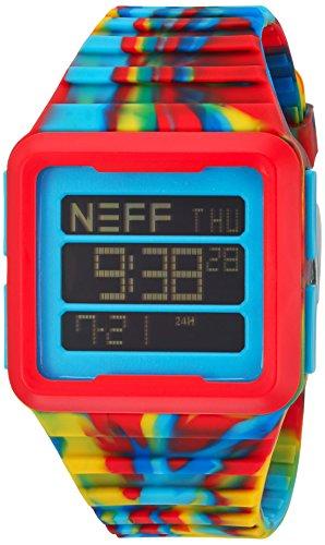 NEFFNF0234 PRMY Schwarze weisse Silikon Band schwarze Zifferblatt Digitaluhr der Maenner