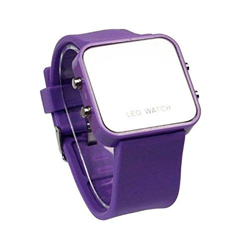 Fandecie Mini LED Digital Kalender Tag Datum Silikon Sport Spiegel Faceless Unisex Uhr lila