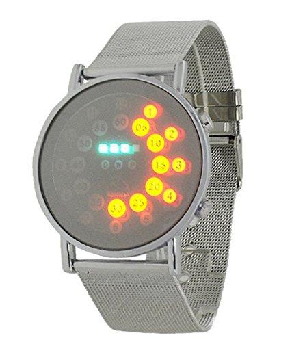 Fandecie LED Digital Art und Weise runder Spiegel Edelstahl Armbanduhr Kreise Unisex