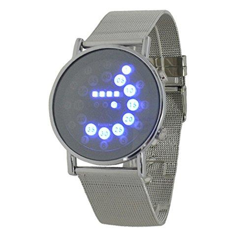 Fandecie LED Digital Art und Weise runder Spiegel Edelstahl Armbanduhr blaues Licht Kreise Unisex