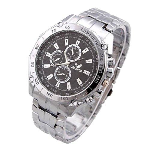 Fandecie Maenner voller Stahl Uhr Edelstahl Buegel Quarz Uhren ORIANDO Luxuxmarken Armbanduhren schwarz