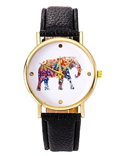 Fandecie Neue Frauen Elefant Printing Muster gesponnenes PU Leder Quarz Zifferblatt Uhr schwarz