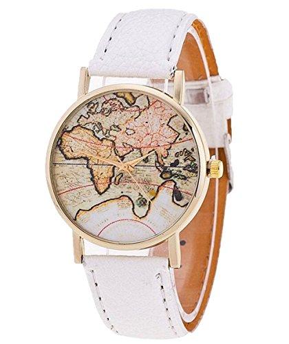 Fandecie Unisex Elegante Retro Old Classic Luxury World Map Armband mit Lederband weiss