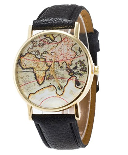 Fandecie Unisex Elegante Retro Old Classic Luxury World Map Armband mit Lederband schwarz