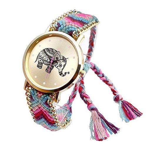 Fandecie Fashion Damen Natives Karikatur Elefant Strick Armbanduhren