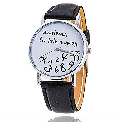 Fandecie Heisse Frauen Leder Uhr Was auch immer ich bin Spaete Wie dem auch sei Brief Uhren