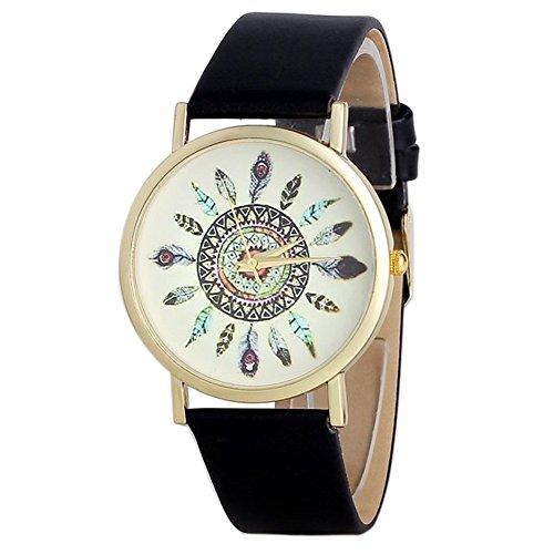 Fandecie Frauen Vintage indische Feder Dial Leder Quarz analoge einzigartige Armbanduhren Pfau schwarz