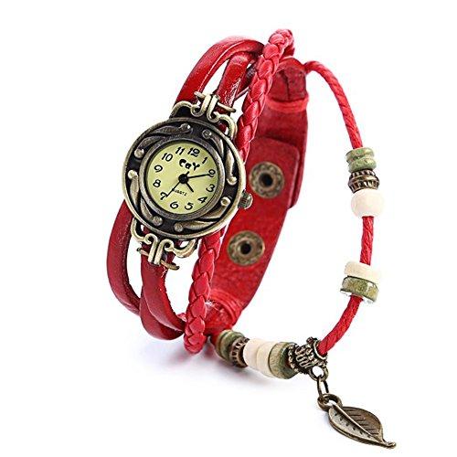 Fandecie Frau die klassische Quarz Art und Blaetter Weave Verpackung um Leder Armband Klassische elegante Lederband Roma Anzahl Armbanduhr