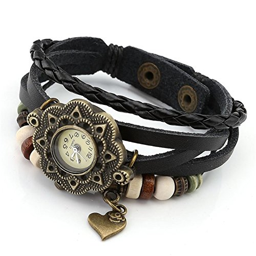 Fandecie Frauen Maedchen Charming Weave Roses Heart shaped Armband Armbanduhr schwarz