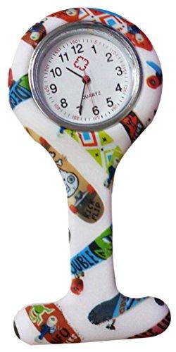 Fandecie Maedchen Mode Blumen Krankenschwester Clip on Fob Brosche Silikon Gelee haengende Taschen Uhr