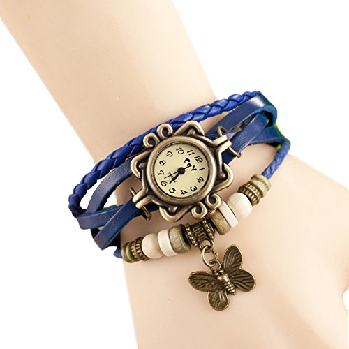 Fandecie Maedchen der Frauen Schmetterlings Armband Armbanduhren