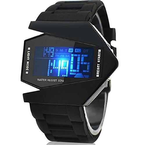 Fandecie Herren Modische Digital gefuehrte helle Sport Uhr mit Plastikarmbandes