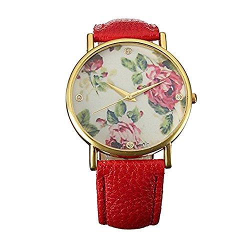 Fandecie Rosen Blumen Dame Uhr Basel Stil Strass Leder Quarz Uhr Leder Armband Uhr Top Watch rot