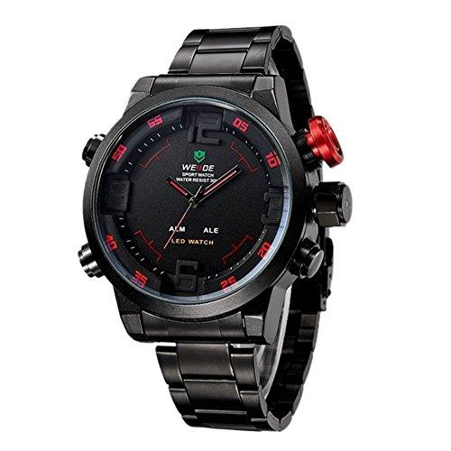 Fandecie Mens Sport Schwarz Dial Dual Time Rot Anzahl Schwarz Edelstahl Armbanduhr anzeigen