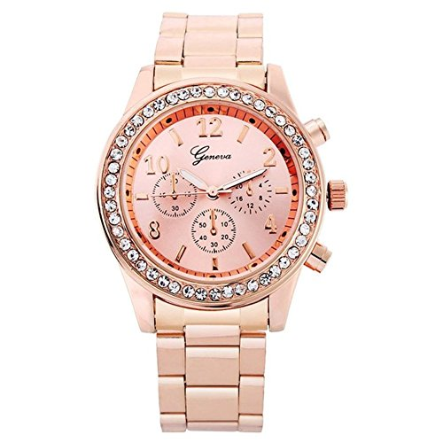 Fandecie Genf Rose Gold ueberzogene klassische runde Kristall Freizeit Armbanduhr