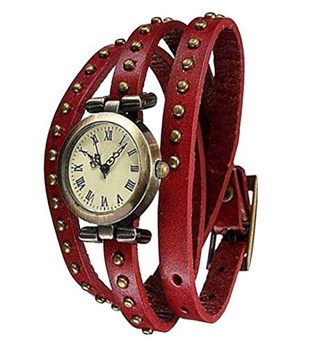 Fandecie Unisex Retro Uhren Leder Nietenarmband Armbanduhr rot