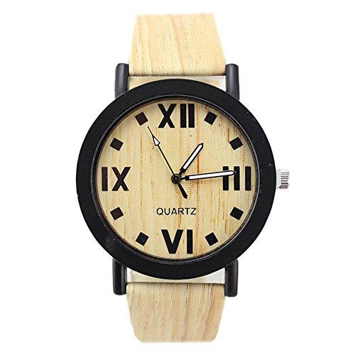 Fandecie Unisex Zifferblatt Quarz Holz Korn PU Leder Armbanduhr Art 1