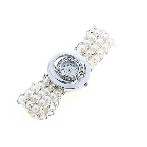 Fandecie heissen Verkaufs Frauen neue stilvolle Strass Perlen Quarz runde Vorwahlknopf Armband Armbanduhr weiss
