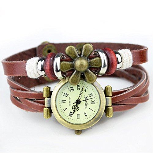 Fandecie Frauen Retro Webart Verpackungs Blumen Kunstleder Armband Armbanduhr