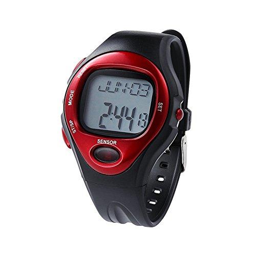 Fandecie Wasserdicht Unisex Puls Monitor Kalorienzaehler Sport Digital Uhr Rot