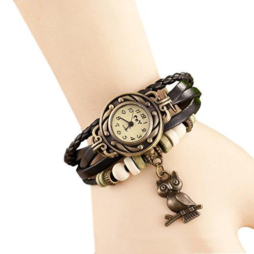 Fandecie Weinlese Eulen Leder Geflochtene Armbanduhr Armband mit Perlen