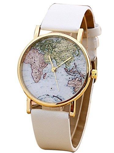 Fandecie Unisex Mode Weltkarte faux Lederband Quarz analoge beilaeufige Armbanduhr weiss