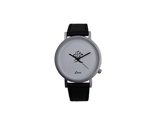 Ausserhalb ein Geschenk macht Magic Worte Love Creative Design Armbanduhr mit weissem Zifferblatt silbernem Fall Schwarz Lederband Japanisches Quarz fuer Mann und Frau bagts0016