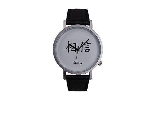 Ausserhalb ein Geschenk macht Magic Worte Glauben Dass Creative Design Armbanduhr mit weissem Zifferblatt silbernem Fall Schwarz Lederband Japanisches Quarz fuer Mann und Frau bagts0015