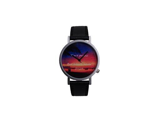 Ausserhalb ein Geschenk macht Magic Stunde Creative Design Armbanduhr mit TBF Farbe Zifferblatt silbernem Fall Schwarz Lederband Japanisches Quarz fuer Mann und Frau bagts0013
