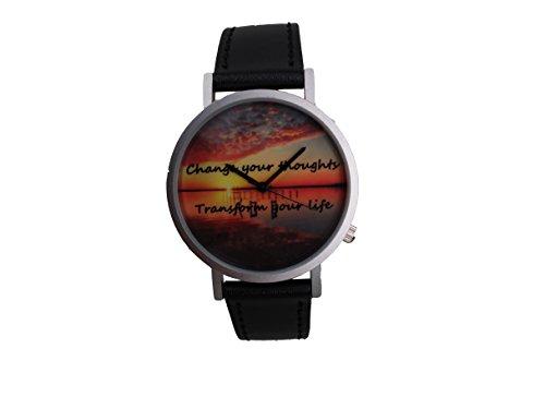 Ausserhalb ein Geschenk macht Magic Stunde Creative Design Armbanduhr mit CT Farbe Zifferblatt silbernem Fall Schwarz Lederband Japanisches Quarz fuer Mann und Frau bagts0012