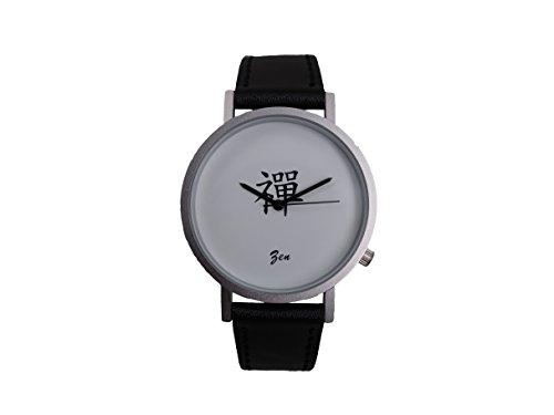Ausserhalb ein Geschenk macht Magic Worte Zen Creative Design Armbanduhr mit weissem Zifferblatt silbernem Fall Schwarz Lederband Japanisches Quarz fuer Mann und Frau bagts0014