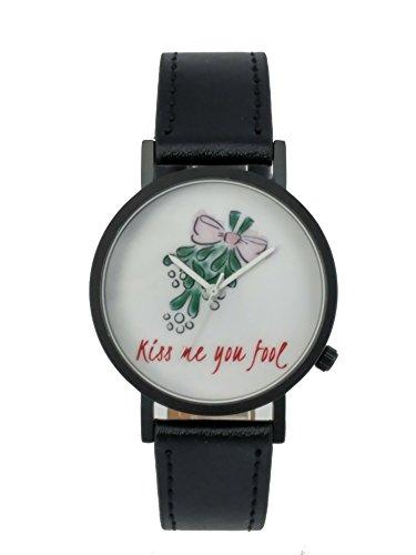 Ausserhalb ein Geschenk macht Kiss Me You Fool Christmas Creative Design Armbanduhr mit weissem Zifferblatt schwarz Fall Schwarz Lederband Japanisches Quarz fuer Mann und Frau bagts0021