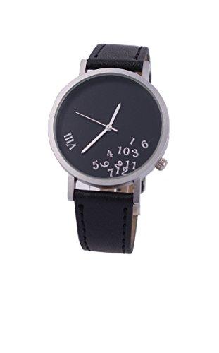 Ausserhalb eines Geschenk Zeit kreatives Design Armbanduhr mit schwarzem Zifferblatt silbernem Fall Schwarz Lederband Japanisches Quarz fuer Mann und Frau bagts0009