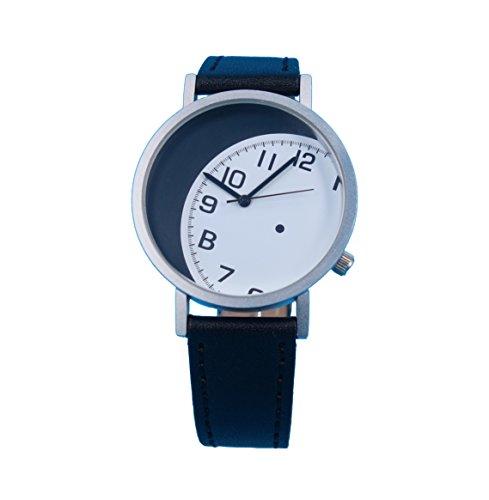 Ausserhalb eines Geschenk Zeit kreatives Design Armbanduhr mit weissem Zifferblatt Arabisch Index silbernem Fall Schwarz Lederband Japanisches Quarz fuer Mann und Frau bagts0010