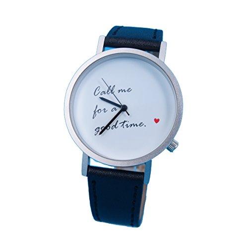 Ausserhalb ein Geschenk macht Love Nachricht Creative Design Armbanduhr mit weissem Zifferblatt silbernem Fall Schwarz Lederband Japanisches Quarz fuer Mann und Frau bagts0011