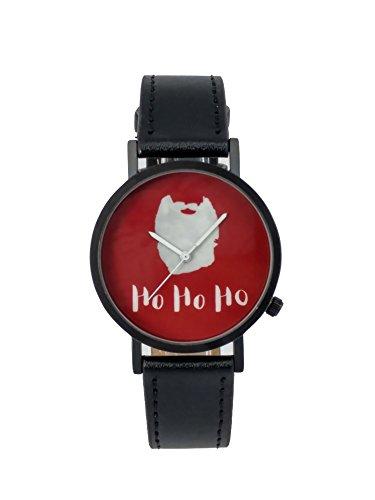 Beyond A Geschenk Weihnachten HoHoHo Creative Design Armbanduhr mit Rot Zifferblatt Schwarz Fall Schwarz Lederband Japanisches Quarz fuer Mann und Frau bagts0019