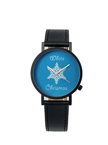 Beyond A Geschenk Weiss Weihnachten Creative Design Armbanduhr mit blauem Zifferblatt schwarz Fall Schwarz Lederband Japanisches Quarz fuer Mann und Frau bagts0018