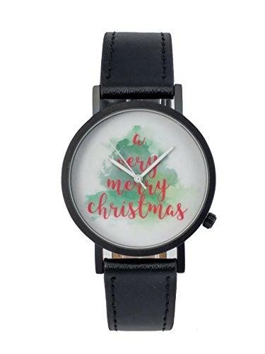 Beyond A Geschenk sehr Weihnachtsbaum Creative Design Armbanduhr mit weissem Zifferblatt schwarz Fall Schwarz Lederband Japanisches Quarz fuer Mann und Frau bagts0022