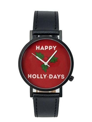 Ausserhalb ein Geschenk macht happy holly days Weihnachten Creative Design Armbanduhr mit Rot Zifferblatt Schwarz Fall Schwarz Lederband Japanisches Quarz fuer Mann und Frau bagts0023