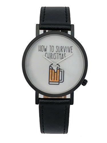 UEber eine Geschenk wie zu UEberleben Weihnachten Creative Design Armbanduhr mit weissem Zifferblatt schwarz Fall Schwarz Lederband Japanisches Quarz fuer Mann und Frau bagts0020