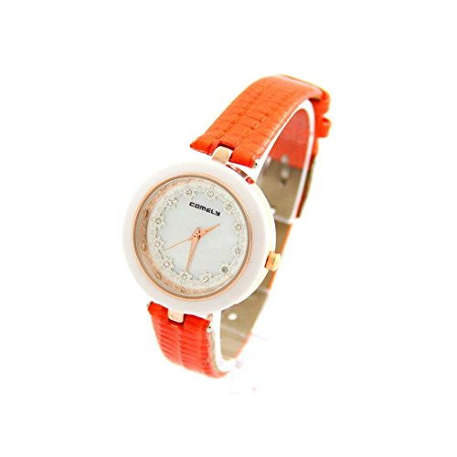 Damen Armbanduhr Leder orange Blume COMELY 1220