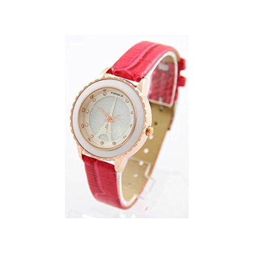 Damen Armbanduhr Leder rosa Paris COMELY 1484