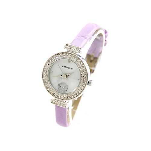 Damen Blume Armbanduhr Armband Leder lila COMELY 1117
