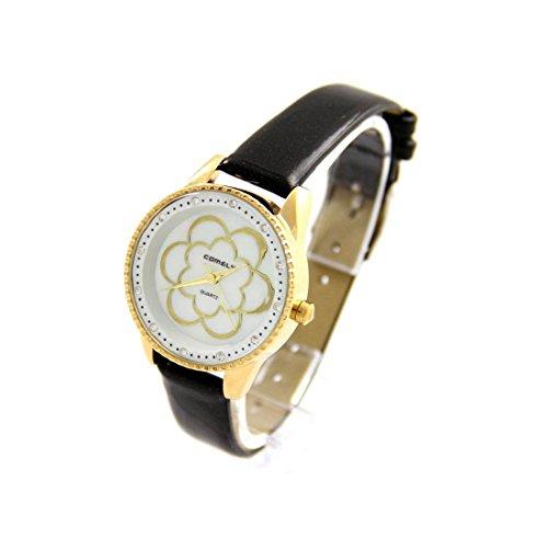 Damen Fantasie Armbanduhr Blume Leder Schwarz COMELY 214