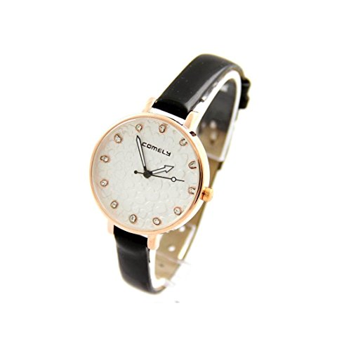Damen Fantasie Armbanduhr Herz Leder Schwarz COMELY 2441