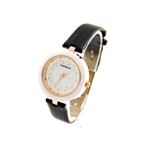 Damen Fantasie Armbanduhr Blume Leder Schwarz COMELY 1240