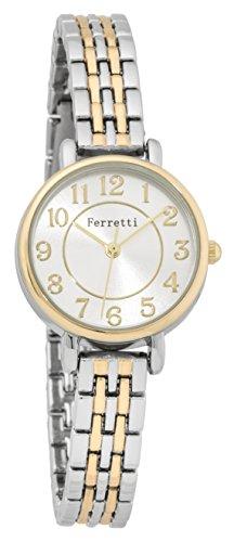FERRETTI Damen Chic klein Zwei Ton Gold und Silber Uhr mit Metall duenn Band ft15001